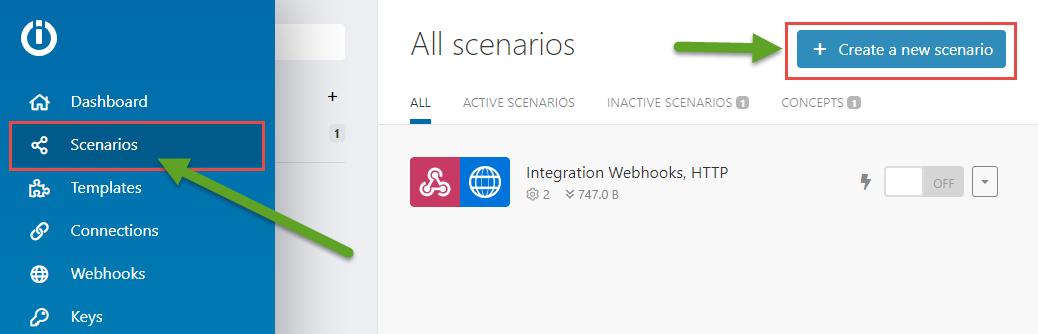 integromat-Create a new scenario