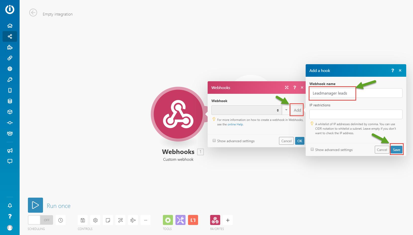integromat-Add webhook